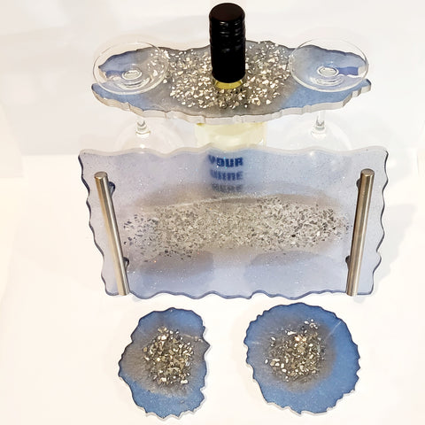 Light Blue and Silver Crushed Mirror Resin Wine Butler/ Wine Holder