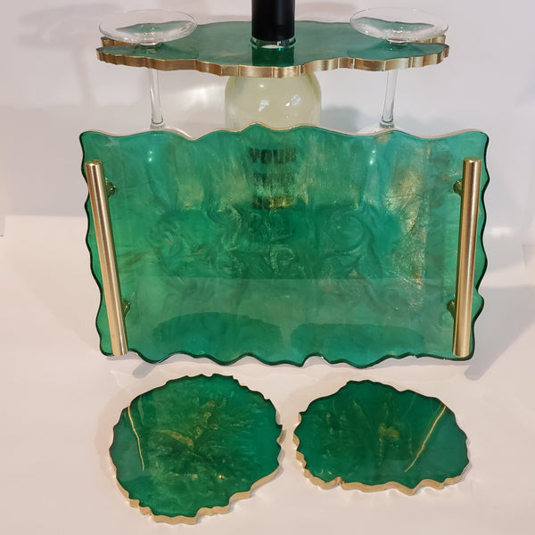 Emerald Green and Gold Resin Wine Butler/ Wine Holder