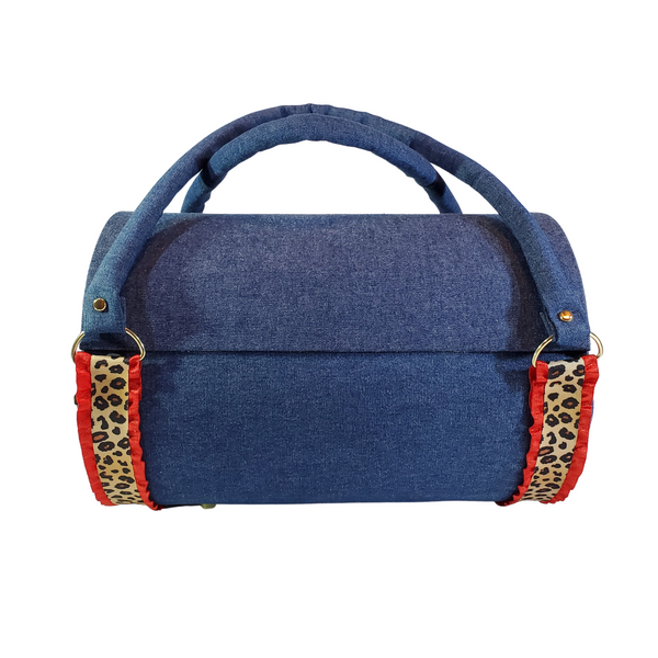 Red Denim Duffel Gift Bag