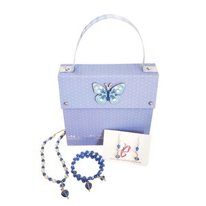 Light Blue and Silver Beaded Choker Set and Blue Butterfly Gift Bag