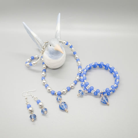 light blue jewelry set with memory wire bracelet