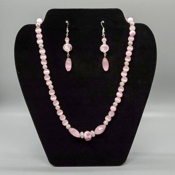 Pink rose and cat's eye bead jewelry set