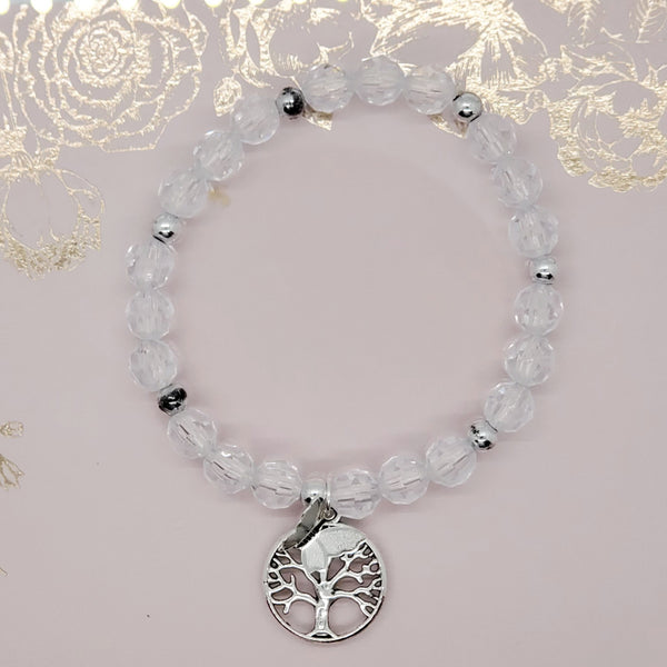 Tree of life clear bracelet silver charm