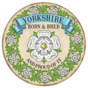 300mm Solid Metal sign, in full colour, showing the phrase Yorkshire Born and Bred together with the Yorkshire Rose