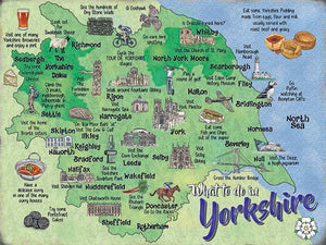 "Metal Wall sign 8 x 6"" In full colour, featuring a map of Yorkshire"