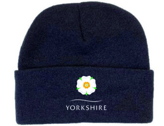 Yorkshire Rose Navy Beanie Hat