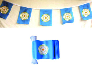 "Polyester bunting . 10 flags. Each flag 6 x 4"".. Each flag printed with the Yorkshire Rose"