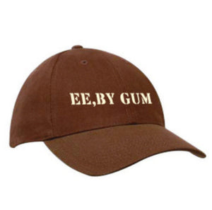 "Brown heavy cotton baseball cap, embroidered in cream thread ""Ee by Gum"""