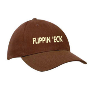 "Brown heavy cotton baseball cap, embroidered in cream with Yorkshire Dialect""Flippin eck"""