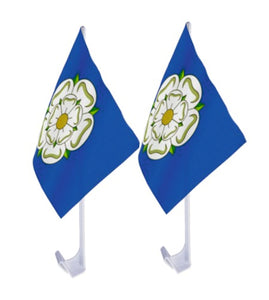 Car flags.  Pack of two for each side of your car. Features the Yorkshire Rose