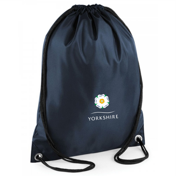 Navy blue thick polyester drawstring backpack, printed with the Yorkshire Rose.