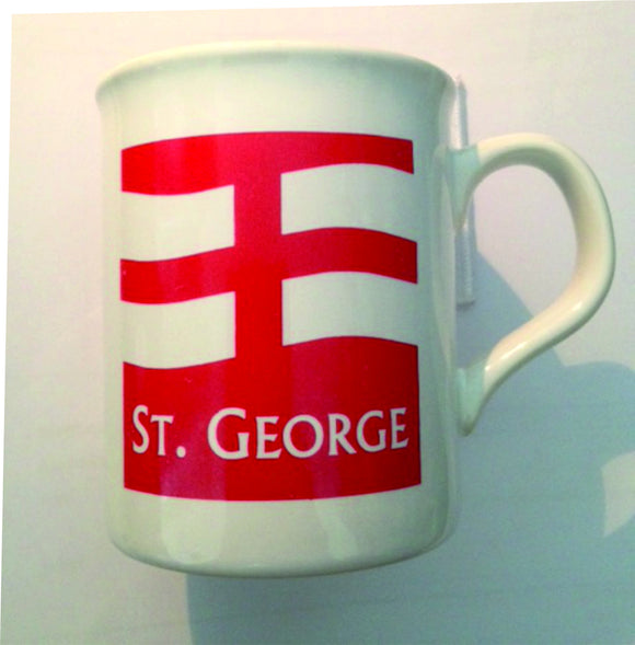 White earthenware mug, printed with an England St George logo