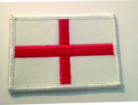 Jacket patch featuring the corss of St George.  Red on white. Overlocked edge