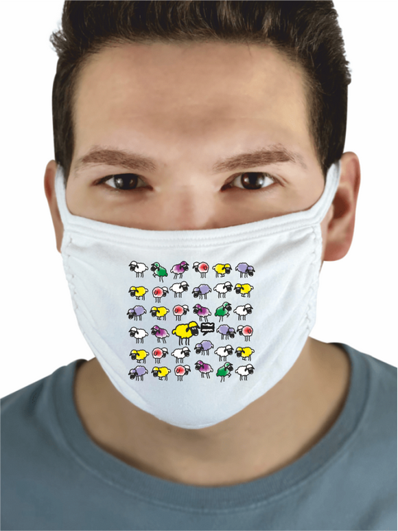 White 3-ply cotton face mask, featuring a Yorkshire sheep design