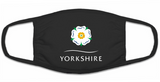 Black cotton 3-ply facemask, featuring the Yorkshire Rose