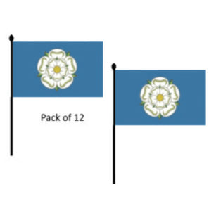 "Yorkshire Hand waving flag 9 x 6"". 12 pack"