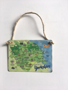 "Solid metal hanging sign 2.5 x 3.5"", printed with a Map Of Yorkshire"