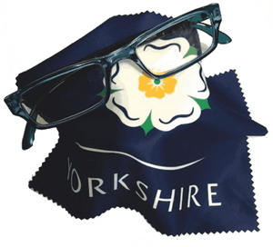 Microfibre cloth printed with the Yorkshire Rose, for cleaning spectacles, sunglasses, camera lens, phone screens etc.
