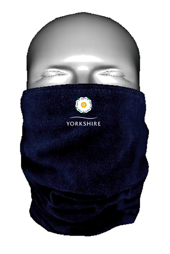 Microfleece multi use Morf neckwarmer. Embroidered with the Yorkshire Rose. Can be used as a face mask.