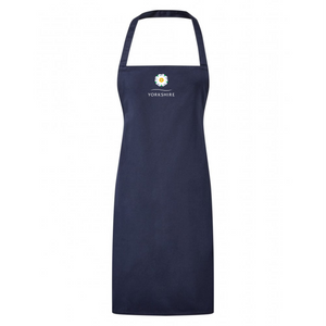 Full length navy blue apron, printed with Yorkshire Rose logo.