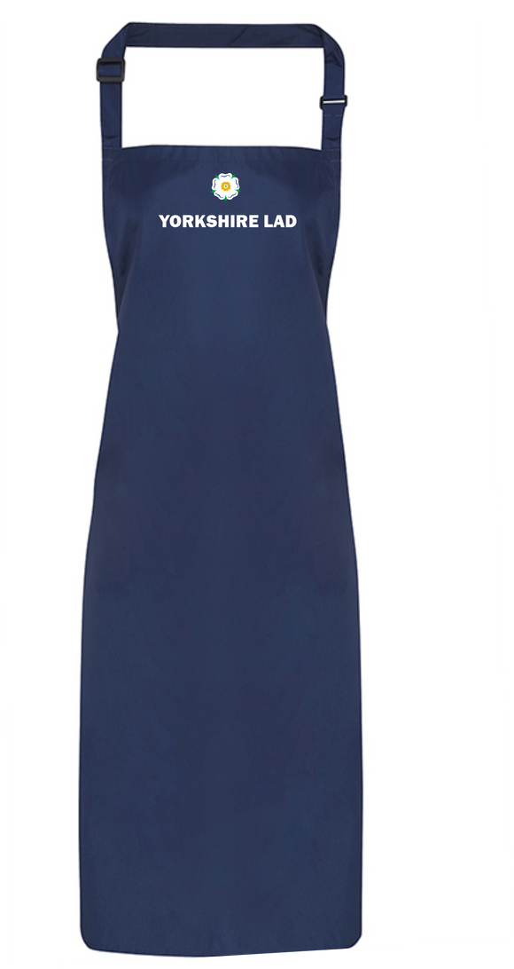 New!  Navy Full Length Apron, printed with the White Rose and YORKSHIRE LAD