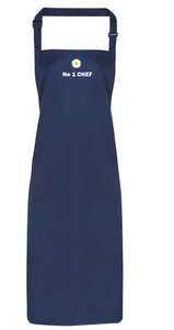 New!  Navy Full length Apron printed with the White Rose & No1 CHEF