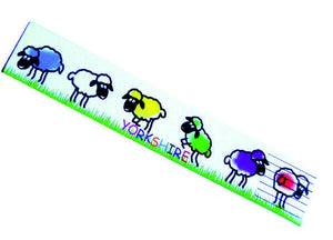 White recycled leather bookmark, printed in full colour with a Yorkshire Sheep design