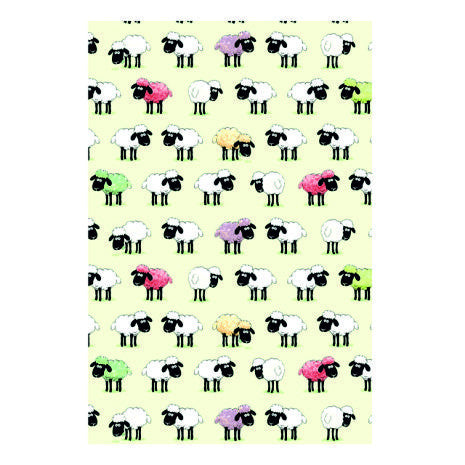 100% Cotton t.towel featuring a colourful Sheep design