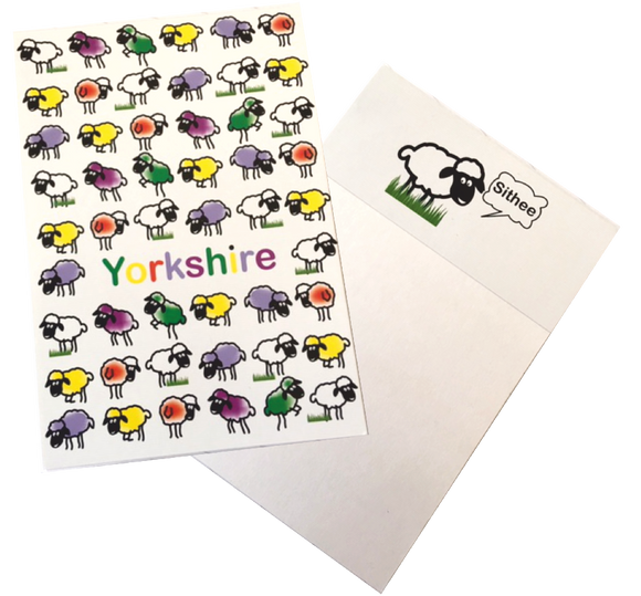 A6 Notepad, with a front cover printed with a colourful Yorkshire sheep design.