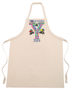 Natural cotton full length apron, printed with detials of the villages and towns the Tour Yorkshire passed through in 2019