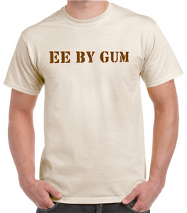 "Yorkshire t/shirt  in natural Cotton printed with  a dialect phrase ""Ee by Gum"""