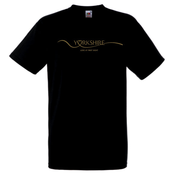 Black cotton t/shirt, featuring a shiny gold print across the front