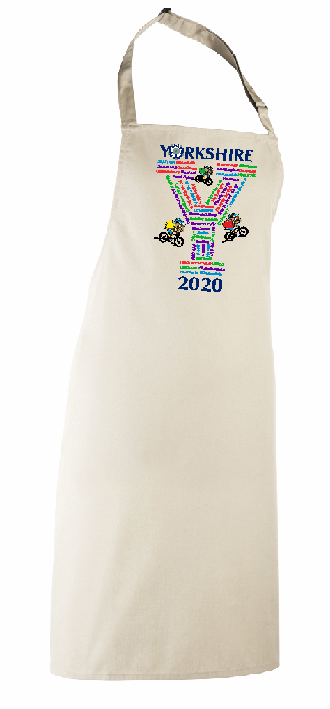 Collectors item. Natural Cotton Full Length Apron. Features the towns and villages the Yorkshire Tour would have passed through in 2020 if it hadn't been cancelled