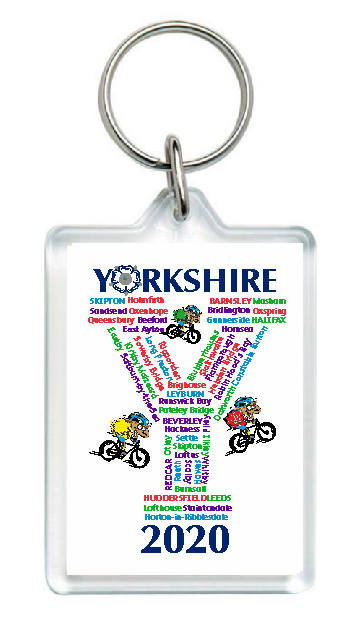 Collectors item. Clear large acrylic keyring, printed on both sides. Features the towns and villages the Yorkshire Tour would have passed through in 2020 if it hadn't been cancelled