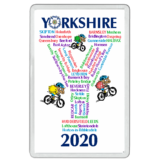 Collectors item. Acrylic Magnet. Features the towns and villages the Yorkshire Tour would have passed through in 2020 if it hadn't been cancelled