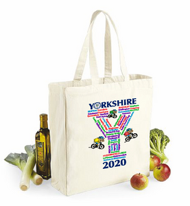 Collectors item. Natural Cotton Shopper with gusset. Features the towns and villages the Yorkshire Tour would have passed through in 2020 if it hadn't been cancelled