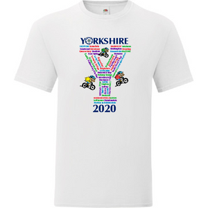 Collectors item.  White Cotton t/shirt printed with the villages and towns the Yorkshire Tour would have passed through in 2020 if it hadn't been cancelled