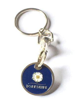 Trolley coin keyring with an enamelled finish featuring the Yorkshire Rose