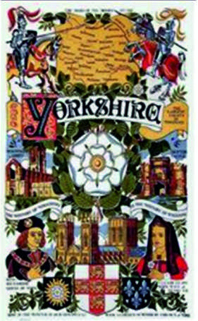 Cotton t/towel with a historical design about  Yorkshire