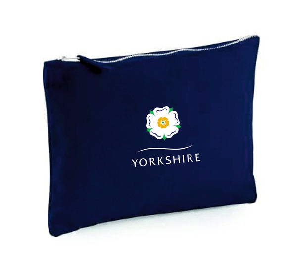 Yorkshire Rose Canvas Zipped Navy Blue Accessory Pouch
