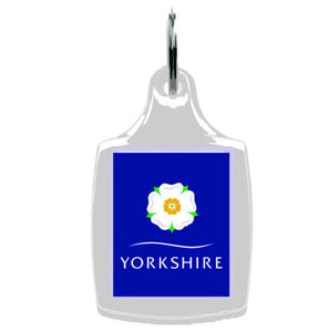 Yorkshire Rose White  Acrylic Keyfob