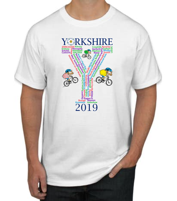 Tour Yorkshire White cotton t/shirt, printed with the towns and villages the Tour passed through in 2019