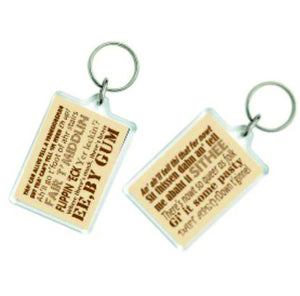 Clear acrylic large keyring, featuring different Yorkshire Dialect phrases on each side