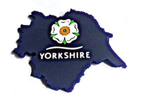 Yorkshire Magnet.  3-D Magnet with raised layers showing an outline map of Yorkshire with the Yorkshire Rose