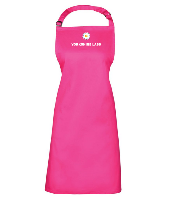 New! Pink Full Length Apron, printed with the White Rose and YORKSHIRE LASS