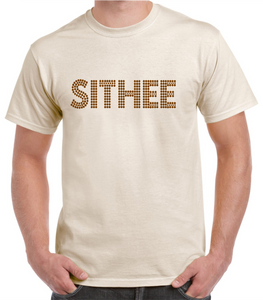 "Yorkshire t.shirt in natural cotton, printed with a dialect phrase ""Sithee"""