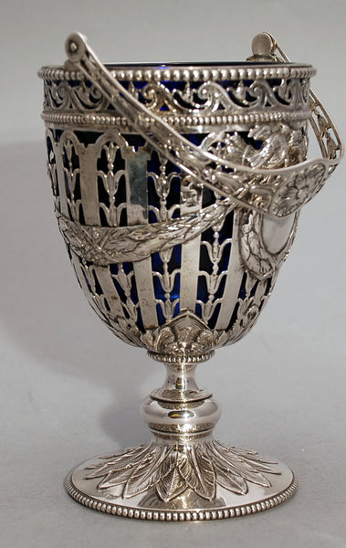 Antique German Silver Empire Design Basket with Cobalt Liner