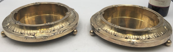 Pair of French Gilt Silver Bottle Coasters on Stands from the JP Morgan Collection