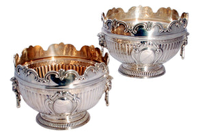 Pair of English Victorian Sterling Silver Monteith Bowls / Centerpieces