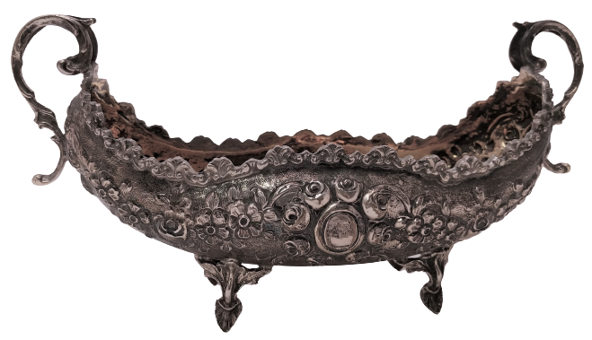 European Silver Centerpiece with Repousse Decoration